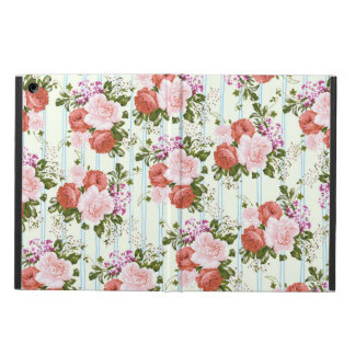 Blush pink roses flowers pastel blue chic stripes cover for iPad air