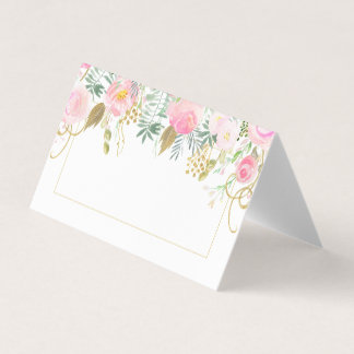 Blush Pink Roses Gold Green Leaves Folded Place Place Card