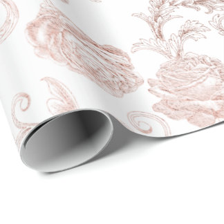 Blush Pink Roses Gold Powder Royal White Delicate Wrapping Paper