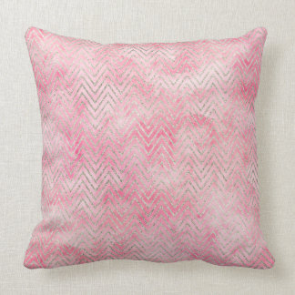 Blush Pink Silver Glitz Chevron Watercolor Cushion