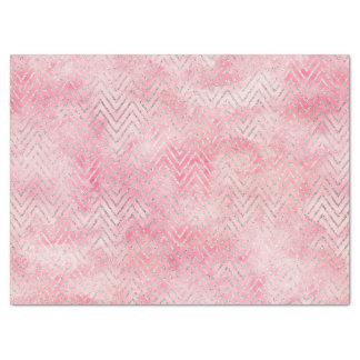Blush Pink Silver Glitz Chevron Watercolor Tissue Paper