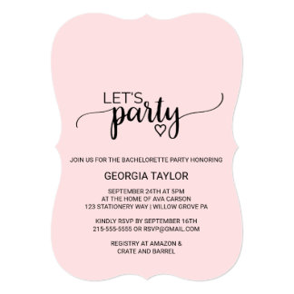 """Blush Pink Simple Calligraphy """"Let's Party"""" Card"""