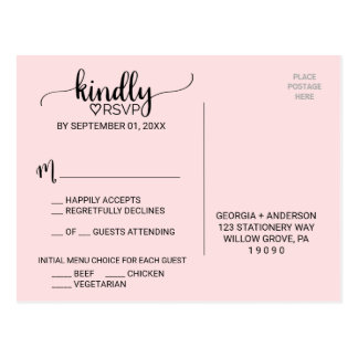 Blush Pink Simple Calligraphy Menu Choice RSVP Postcard