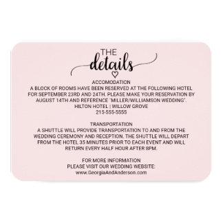 Blush Pink Simple Calligraphy Wedding Details Card
