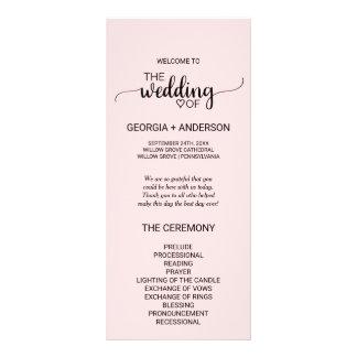 Blush Pink Simple Calligraphy Wedding Program Rack Card
