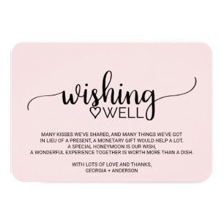 Blush Pink Simple Calligraphy Wedding Wishing Well Card