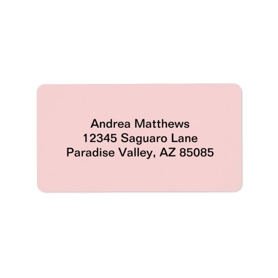 Blush Pink Solid Colour Address Label