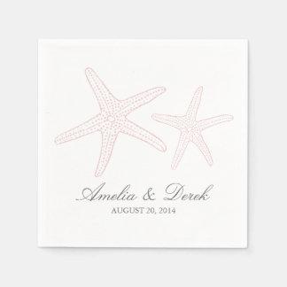 Blush Pink Starfish Cocktail Napkins Disposable Napkins