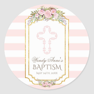 Blush Pink Stripes Floral Gold Baptism Monogram Classic Round Sticker