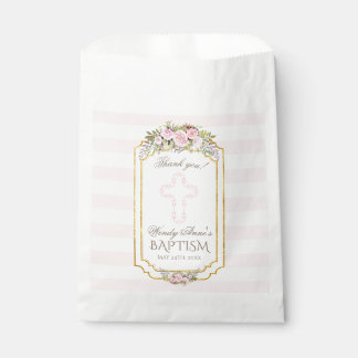 Blush Pink Stripes Floral Gold Baptism Monogram Favour Bag