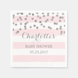 Blush Pink Stripes Silver Confetti Baby Shower Paper Napkins