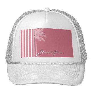 Blush Pink Stripes; Summer Palm Trucker Hat