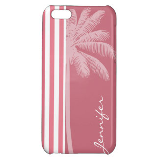 Blush Pink Stripes; Summer Palm iPhone 5C Case