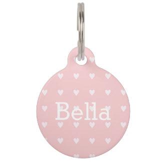 Blush Pink Tiny Hearts Modern Round Large Pet Tag