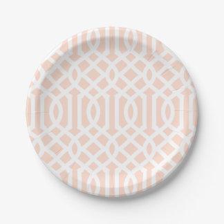 Blush Pink Trellis 7 Inch Paper Plate
