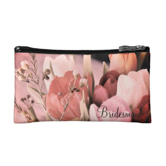 Blush Pink Tulips Bouquet Bridal Cosmetic Bag