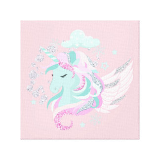Blush Pink Unicorn Faux Glitter Canvas
