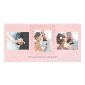 Blush Pink Vintage Floral Wedding Thank You Photo Cards