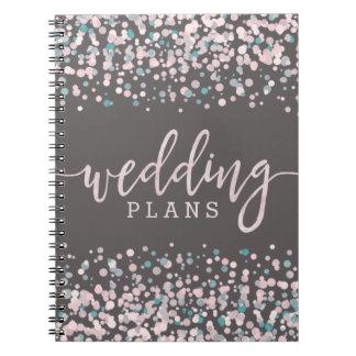 Blush Pink Watercolor Confetti Wedding Planner Notebooks