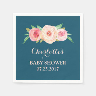 Blush Pink Watercolor Floral Navy Blue Baby Shower Disposable Napkin