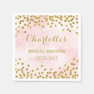 Blush Pink Watercolor Gold Confetti Bridal Shower Disposable Serviette