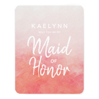 Blush Pink Watercolor Will You Be My Maid of Card