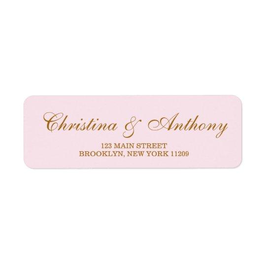 Blush Pink Wedding Monogram Return Address Labels