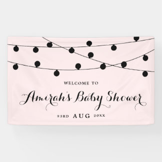 Blush Pink Whimsical Fairy Lights Baby Shower Banner