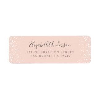 Blush Pink & White Confetti Wedding Return Address Label