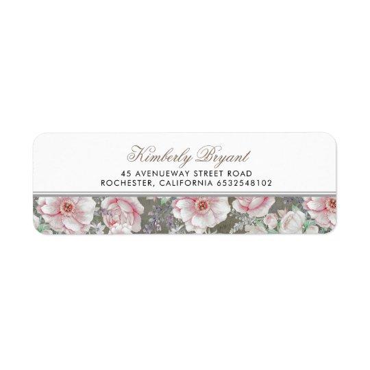 Blush Pink White Floral Vintage Shabby Return Address Label