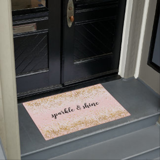 Blush Pink White Gold Confetti Sparkle Doormat