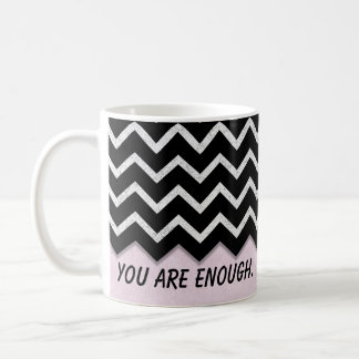 blush pink with black chevron coffee mug