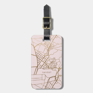 Blush Pink with Gold Look Map Add Name Luggage Tag