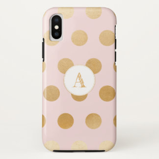 Blush pink with large gold polka dots, monogram iPhone x case