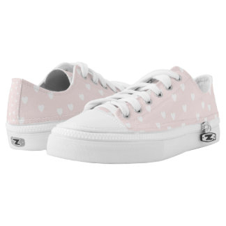 Blush Pink with White Hearts Low Tops