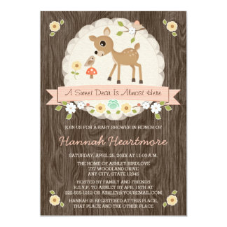 BLUSH PINK WOODLAND DEER BABY SHOWER 13 CM X 18 CM INVITATION CARD