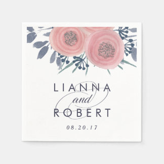 Blush Poppies Wedding Paper Napkin