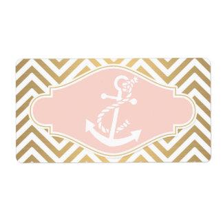 Blush Preppy Chevron Stripe Modern Nautical Anchor Shipping Label