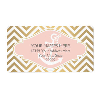 Blush Preppy Chevron Stripe Modern Nautical Anchor Shipping Label
