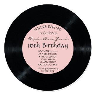 Blush Retro Vinyl Record Birthday Invitation
