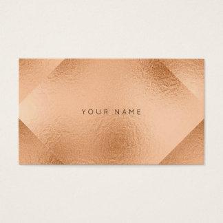 Blush Rose Copper Metallic Geometry Peach Business Card