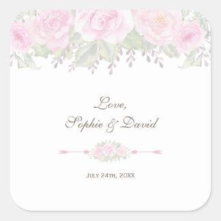 Blush Rose Garden Watercolor Floral Wedding Square Sticker