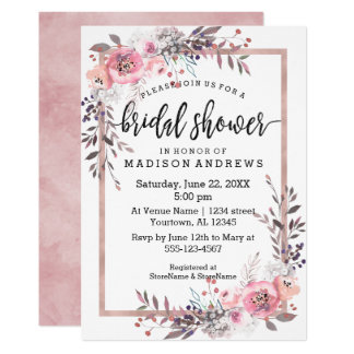 Blush & Rose Gold Framed Bridal Shower Invitation