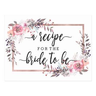 Blush & Rose Gold Framed Bridal Shower Recipe Card