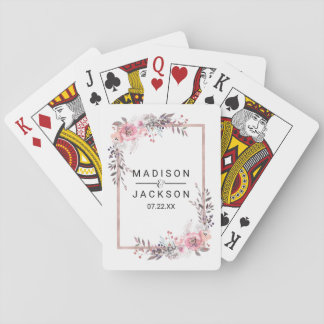 Blush & Rose Gold Framed Floral Wedding Favor Playing Cards