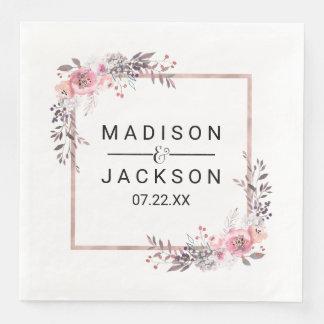 Blush & Rose Gold Framed Floral Wedding Monogram Disposable Serviette