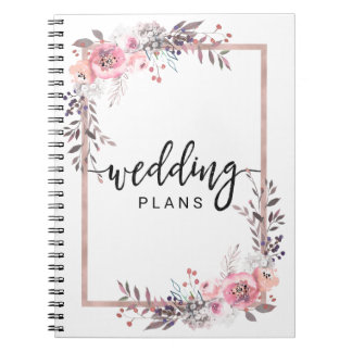 Blush & Rose Gold Framed Floral Wedding Planner Spiral Notebook