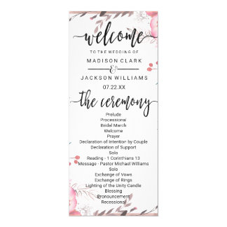Blush & Rose Gold Framed Floral Wedding Program