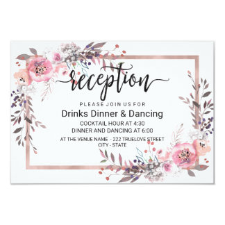 Blush & Rose Gold Framed Floral Wedding Reception Card