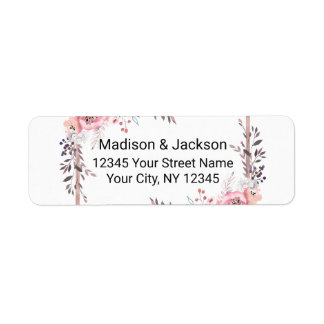 Blush & Rose Gold Framed Wedding Return Address Return Address Label